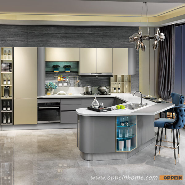Modern Grey Kitchen Cupboards: OP15-036: Modern Golden And Grey Lacquer Kitchen Cabinet
