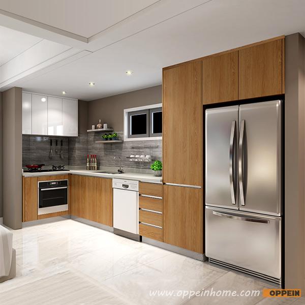 Modern Wood Grain Kitchen: OP16-M02: Modern Wood Grain Melamine And Lacquer Kitchen