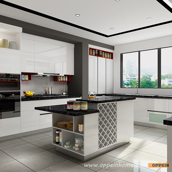 Kitchen Set Hpl Glossy: OP16-HPL03: Modern High Gloss White HPL And Red Lacquer