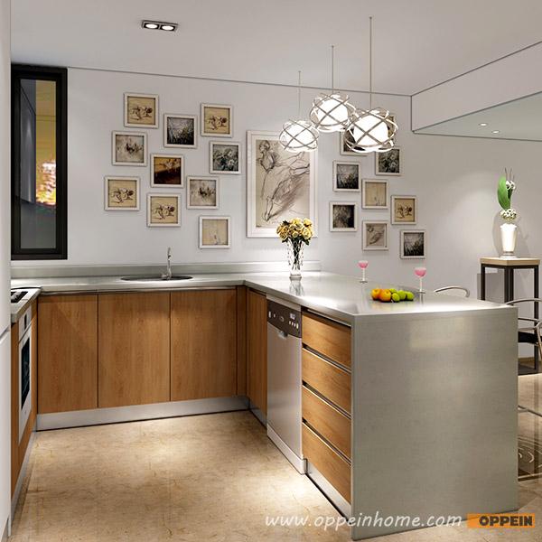 Modern Wood Grain Kitchen: OP16-L05: Modern White Matte Lacquer And Wood Grain