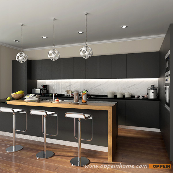 OP16-L14: Modern Stylish Black Matte Lacquer Kitchen Cabinet